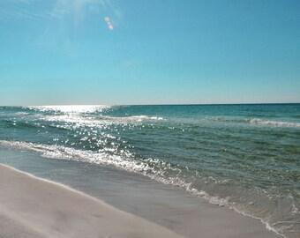 Beach Photography Sparkling Ocean Photo Coastal Decor Florida Beach Art
