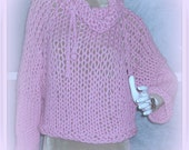 SWEATER WOMENS KNITTED  Bulky Loose knit Oversized  Chunky Pullover Pink