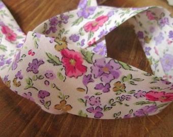 Purple Print Cotton Bias Binding - 25mm Bias Binding - Floral Edging - Floral Trim - Bias Edging - Floral Print Bias Binding