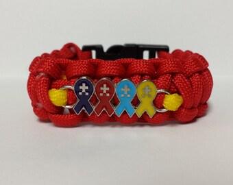 Free Shipping!! AUTISM AWARENESS BRACELET Autism Survival Puzzle Piece Charm Paracord Bracelet