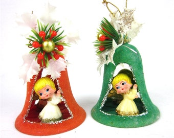 Vintage 50s, 60s Flocked Diorama Bell Angel Christmas Ornament