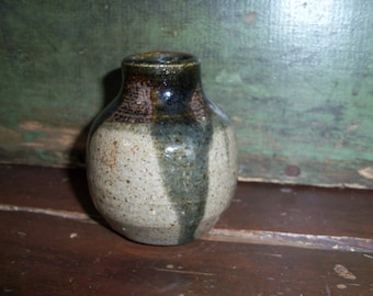 Beautiful Small Stoneware Pottery Vase Jar Bottle Black Gray