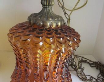 Hanging Lamp Lighting  Bohemian Amber Glass Lamp Shade  Hanging Swag Light Fixtures Hanging Lamp  70s Lighting Bohemian Decor