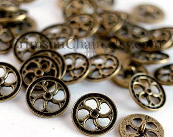 Steampunk Buttons - Antique Brass Flywheel - From Crimson Chain Leatherworks