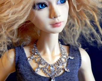doll necklace - Evening Glamour - ball joint doll BJD jewelry - miniature accessory for SD, DD, or 1/3, American Model - sparkling bling