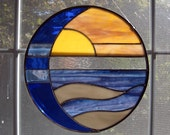 7 Inch Sun and Moon Over Water Stained Glass Panel