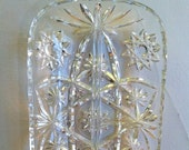 CLEARANCE Midcentury Hors D'oeuvre Tray, Starburst Glass, Vintage Nut or Cracker Dish