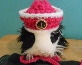 Tiny Pink Sailor Hat for Guinea Pigs, Tiny Pet Halloween Costume, Crocheted Naval Hat