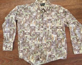 Vintage Shirt with Greek Goddess/Seasons Pattern, Retro Shirt, Hipster Shirt - 1970s