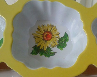 Vintage Sunflower 3 Section Serving Dish Planter Yellow Melamine