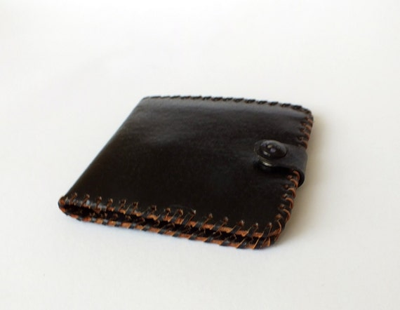 RESERVED Minimalist Leather Wallet With Coin Purse. Vintage Genuine Black Leather Wallet Handmade Soviet Pocket Wallet. Leather Money Purse.