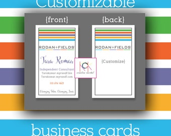 Rodan and Fields Business Cards - Promotion - Network Marketing materials  - Customizable - R & F - Direct Sales - DIY Printing - Stripes