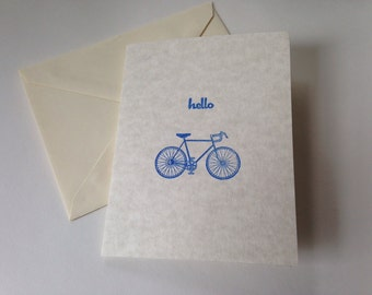 Destash Stamped Bicycle Hello Stationery Note Card Set of 6, Blank Cards, Greeting Cards, All Occasion Cards with envelopes