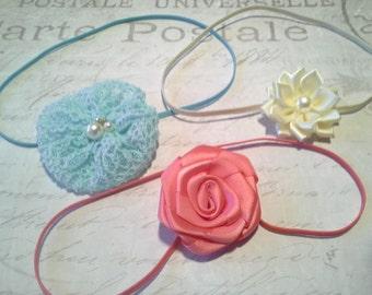 set 3 headbands, baby headbands, newborn headbands, ivory headband, flower headbands,coral headbands, dainty headbands,aqua headbands