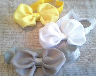 set 3 headbands, baby headbands, newborn headbands,yellow headband, bow headbands,gray headbands,bow headbands, chiffon headbands