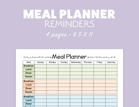MEAL PLANNER 4 versions Printable template pdf landscape