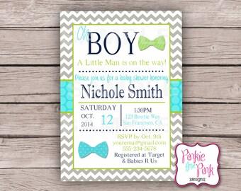 Personalized Baby Boy Shower Invitation- Little Man Tie- Digital File Download