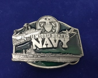 Navy Belt Buckle, US - Aircraft Carrier, Submarine, Fighter Jet - Vintage -Fabulous!