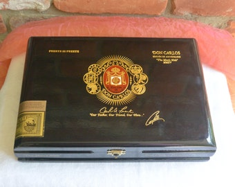 Vintage Cigar Box - Don Carlos 80th - Black Lacquer, Gold, Red - Hinged, Latched - Rare, Collectible!