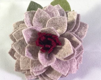 Wool Blend Felt Flower Alligator clip or Headband