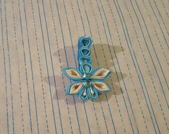 Kanzashi, Blue Kanzashi Dragonfly Alligator Clip,Dragonfly Alligator clip