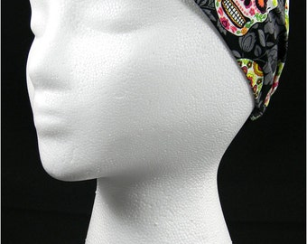 Sugar Skulls Day of the Dead headwrap/headband (Handmade in the United States)