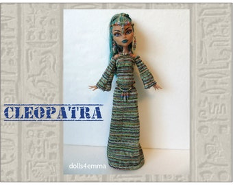 Monster High Nefera Doll Clothes Handmade Custom Deluxe Egyptian Fashion - Gown, Belt & Jewelry - by dolls4emma