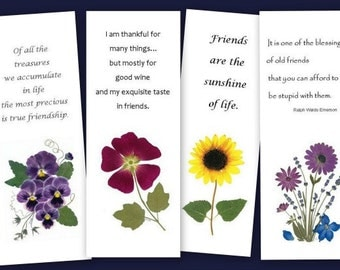 Friendship Bookmarks - set of 4 Pressed Flower Bookmarks - Quotes about Friendship - #058