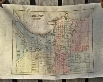 City of Hamilton map tea towel - FREE SHIPPING