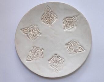 wedding tableware round ceramic plate texture white hindu pattern personalized, dinnerware, dinner plates, housewarming gift, handmade