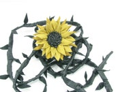 Yellow/Black Leather Sunflower Belt/Wrap With Black Leather Strap