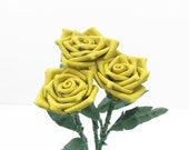 3 Yellow Leather Roses Flower Bouquet  Long Stem Green Leather Wife/Girlfriend/Valentines Day Gift