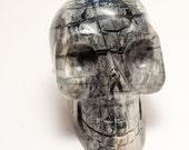 Picasso Jasper Crystal Skull Giant Sized Hand Carved 4 1/4 inches long! and 2 pyrite skulls!