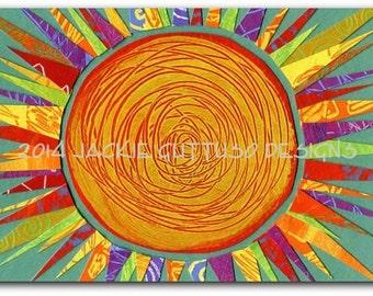 "Sun art, Archival print 5 x 7"", Colorful sun, Whimsical sun, Sun collage art, Acrylic painting print, Kitchen art, Sun decor, Sun wall art"
