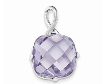 Sterling Silver Lavender CZ Pendant