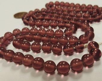 100 Vintage Japanese 1950's Cherry Brand Glass Amethyst 8mm. Round Beads 4681