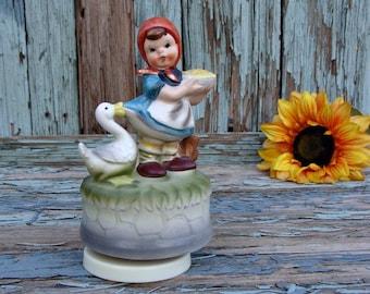 "1970s Vintage HIMARK Music Box Little Girl & Goose ""Hummel Style"""
