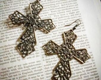 Large Ornate Cross Earrings