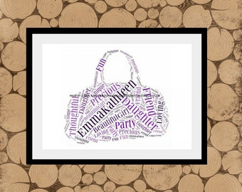 Handbag Word Art, Bag Word Cloud,Handbag Word Collage, Personalised Handbag Print, Handbag Word Cloud, Bag Word Collage, Gift For Her.