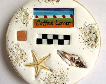 Coffee coaster. Absorbent clay, cut shell, starfish and glass coaster for your boat or beach home.   FREE SHIPPING