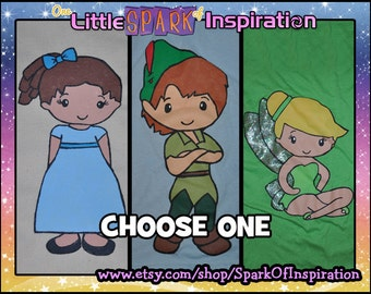 Cuties Collection Peter Pan Wendy Tinkerbell Tink Pixie Hollow Fairies Rossetta Silvermist Vidia Fawn Iridessa Tote or T-Shirt Commission
