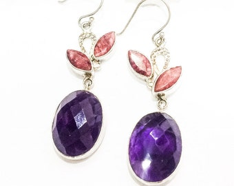 Amethyst and Ruby 925 Silver Earrings