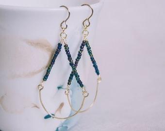 SALE - 15% off - Teardrop Beaded & Hammered Wire Earrings