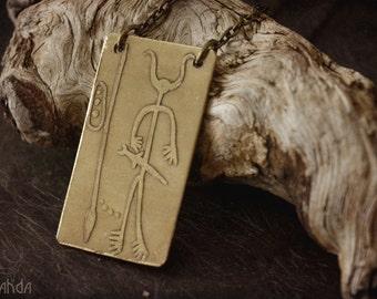 Estela de Magacela etched brass pendant