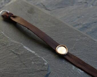 SALE Nubuck leather bracelet with silver charm, Mixed metal charm bracelet, Women boho leather bracelet