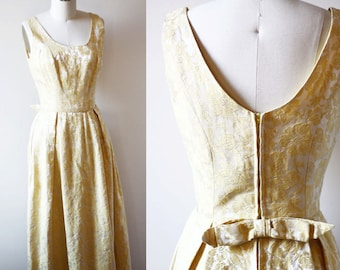 1960s yellow brocade dress // 1960s gown // vintage dress