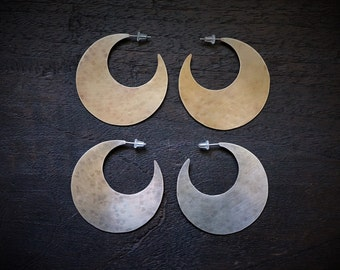 Crescent Hoops in Brass or Sterling