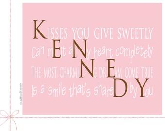 Pink Nursery Art Print Nursery Decor Nursery Art Personalized Name Childrens Art, 8x10 Paper Print, Kennedy