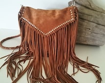 Desert Dreamer Bag, simply stunning Hand crafted, suede leather, fringe boho bag with gold and silver stud detail