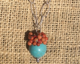 Turquoise & Coral Necklace on Silver Oval Link Chain